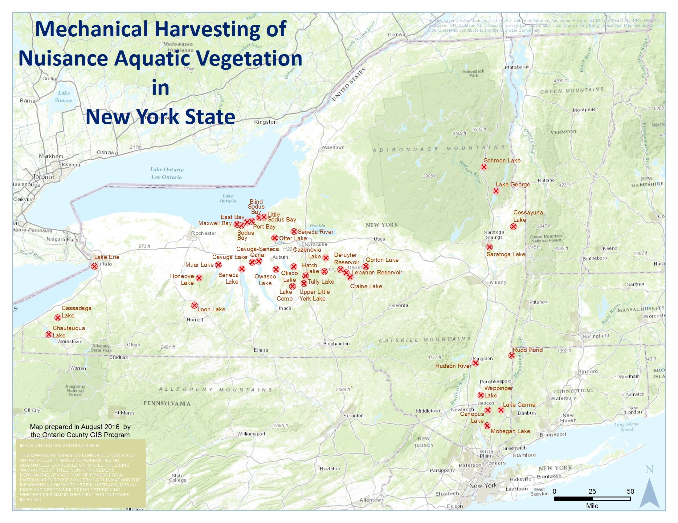 Aquatic Vegetation Harvesting in New York State Labeled