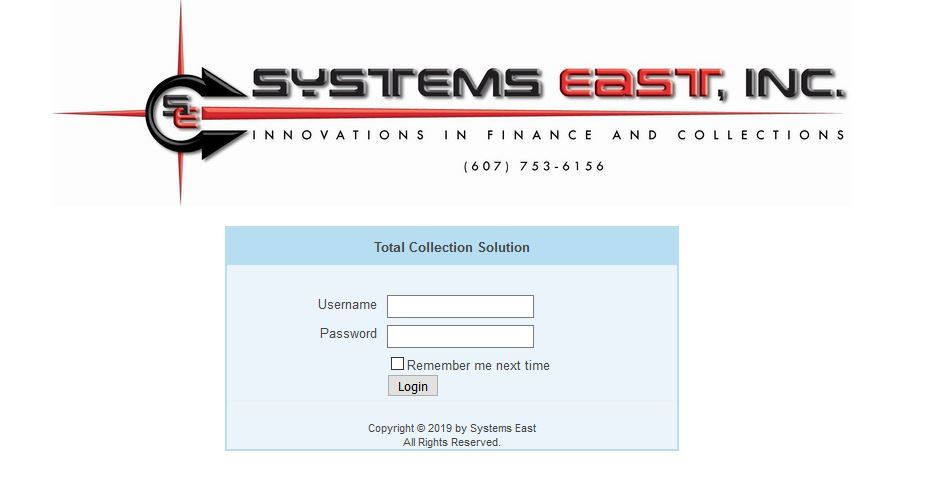 Systems East Login Screenshot