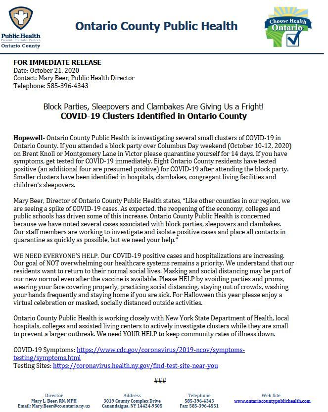 COVID increase 10 21 press release